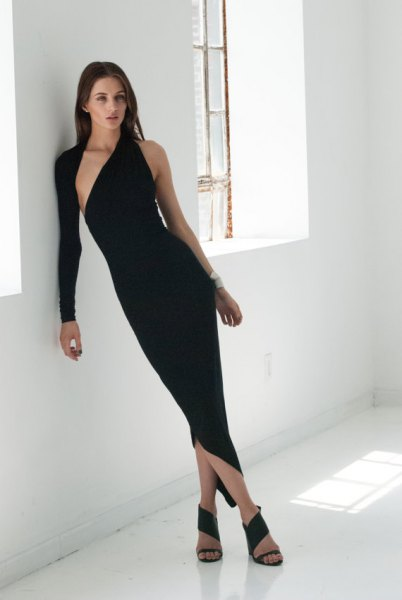 asymmetrical black bodycon maxi dress