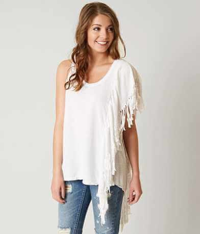 asymmetrical sleeveless jeans with fringes
