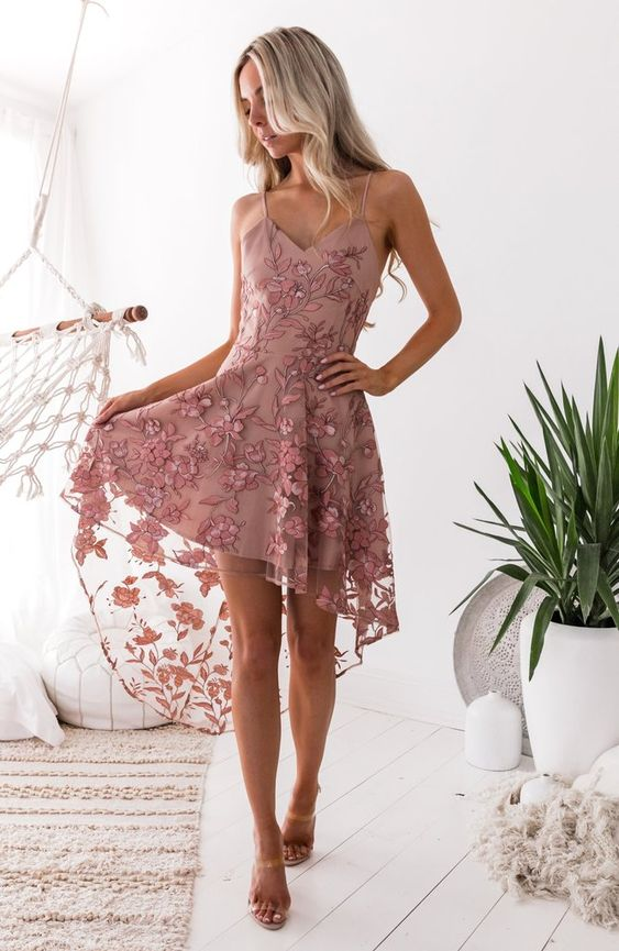 high low lace dress soft pink embroidery