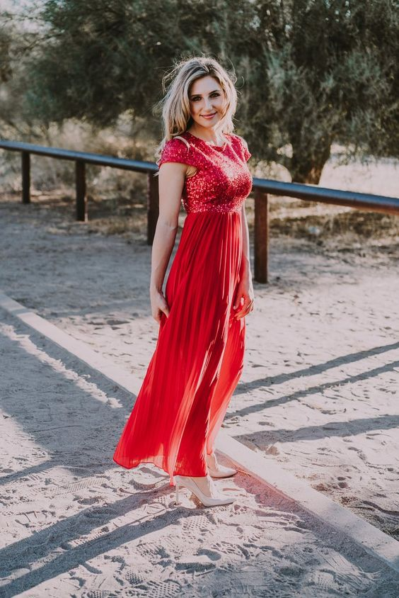 red sequin dress tulle blend