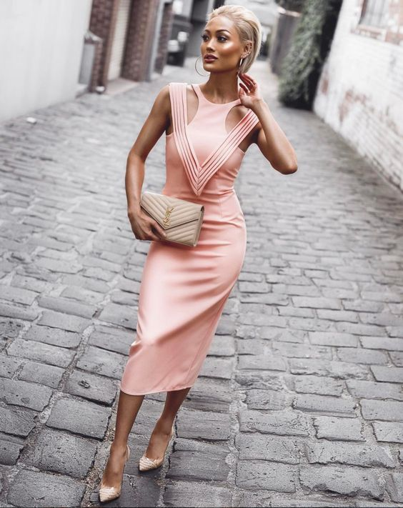 pink bandage dress tank bodice