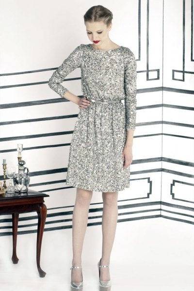 silver long-sleeved sequin dress