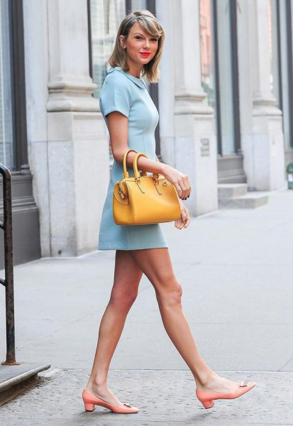 Mini dress with baby blue collar and mustard yellow wallet