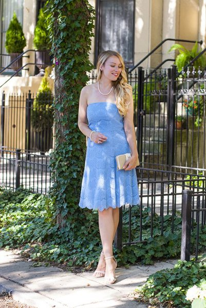 Baby blue off the shoulder fit and flare lace midi dress