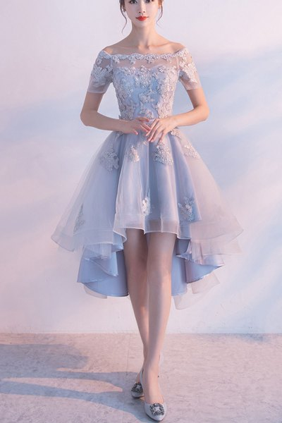 baby blue pleated mini cocktail dress with boat neckline and short sleeves