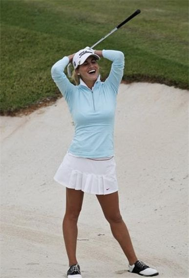 Baby blue sweater white skort outfit