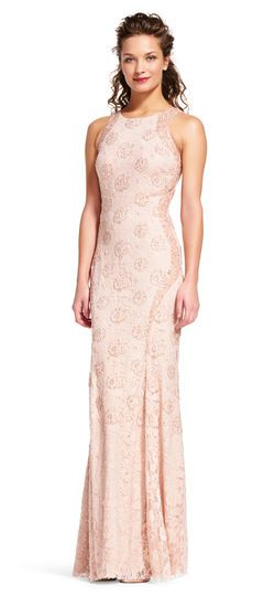 Baby pink lace halter neck dress maxi