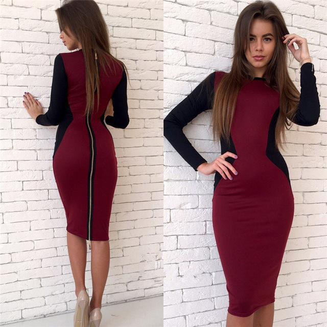 Back zipper dress two-tone