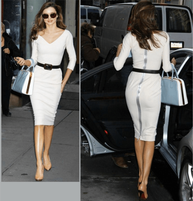 Back zipper dress white