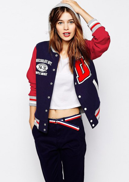 Baseball sports jacket with a white, cropped T-shirt