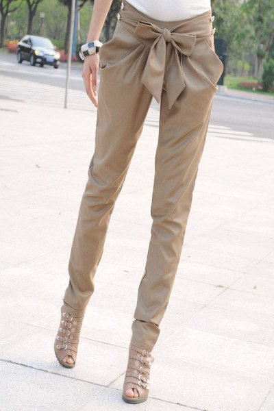 beige gladiator sandals drainpipe pants