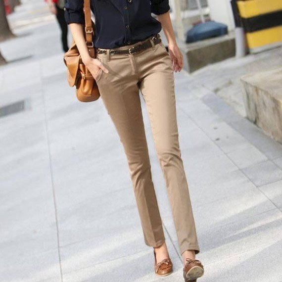 beige khaki pants green low shoes