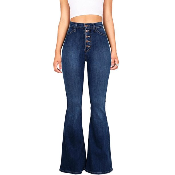 Wodstyle - Women's Vintage High Waisted Flared Bell Bottom Casual .