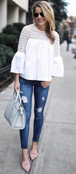 white skinny jeans with bell sleeves
