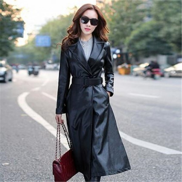 black trench coat made of black leather with belt, gray knitted sweater