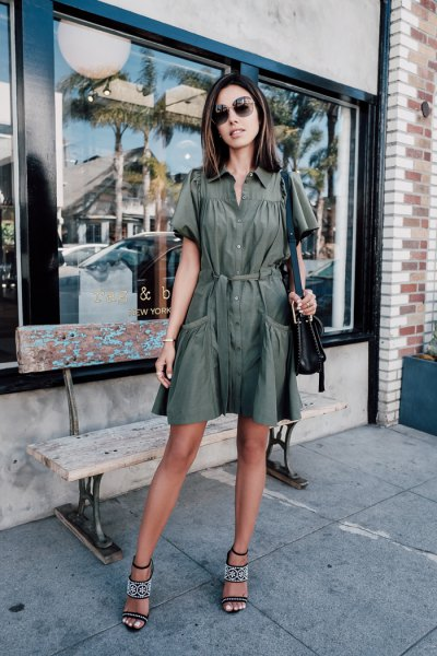 Flared mini khaki dress with button fastening and open toe heels