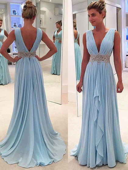 Pleated light blue ball gown with a deep V-neckline and belt
