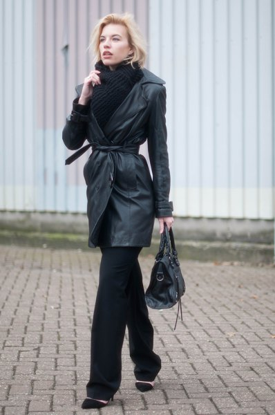 Leather trench coat with belt, black scarf and sweater