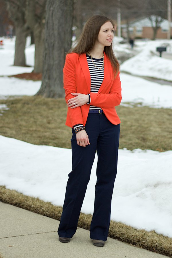 best blazer with black and white striped long-sleeved T-shirt and wide-leg pants