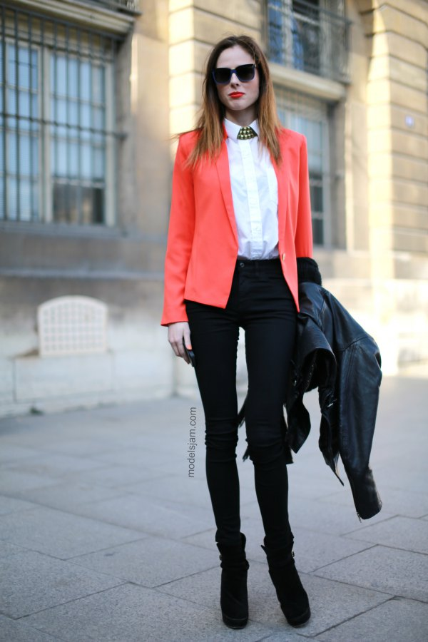 best orange blazer with white shirt with buttons and tall skinny jeans