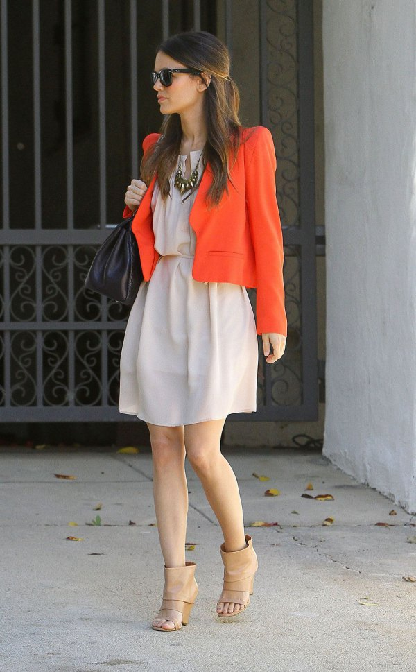 Best orange cotton jacket with pale pink mini dress with ruched waist