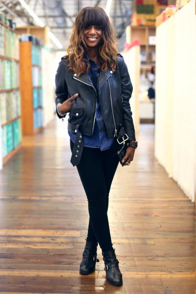 Biker jacket with blue chambray shirt with buttons and black leather moto boots