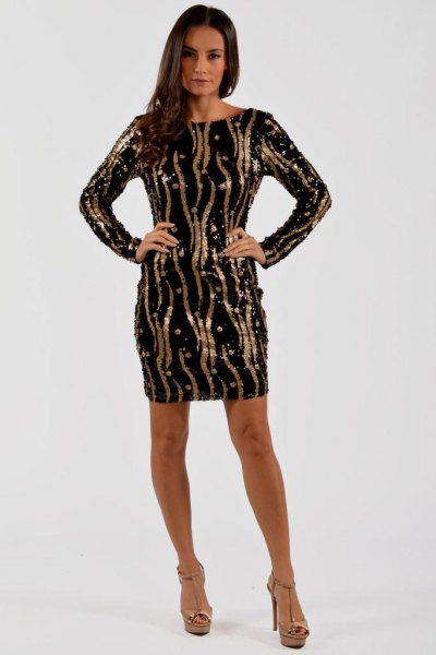 Black and gold long sleeve sequin shift dress