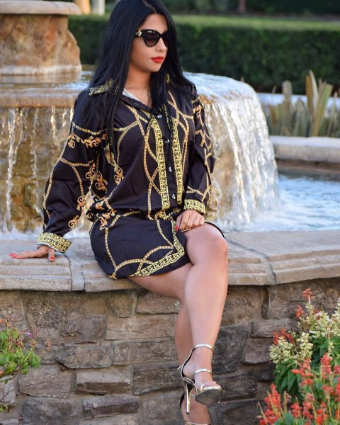 black and gold mini shirt dress with silver, open toe ankle strap heels