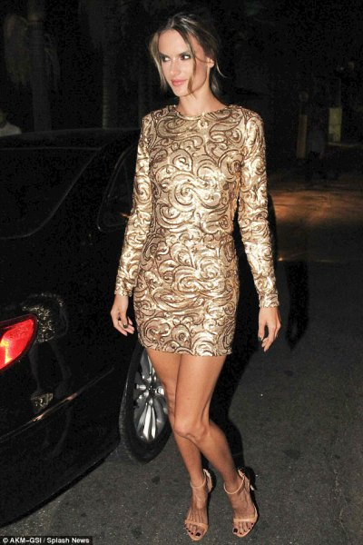 black and gold printed sequin mini dress alessandra ambrosio
