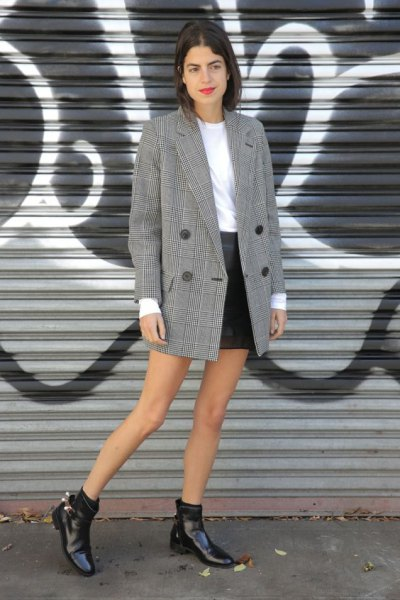 black and gray checked oversized double-breasted suit with mini leather skirt