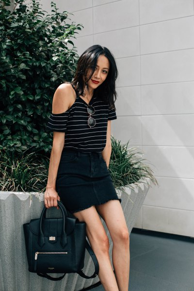 black and gray striped cold shoulder top
