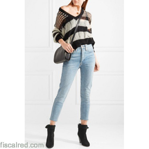 black and gray striped jeans with V-neckline and short jeans
