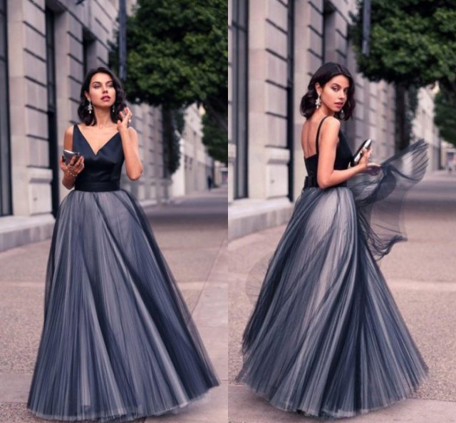 black and gray two-tone maxi tulle dress