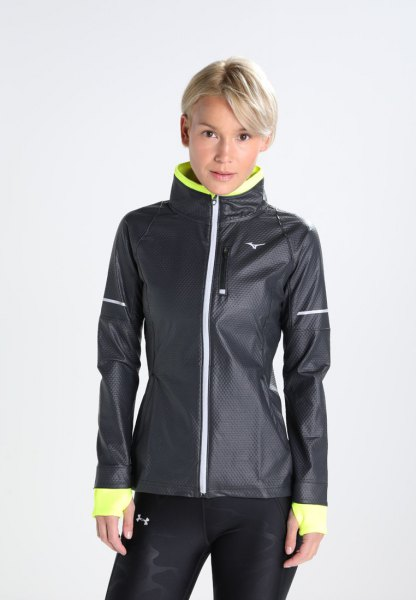 black and lemon yellow sports jacket with running shorts