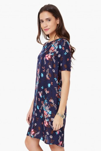 black and light blue mini chiffon shirt dress with floral pattern