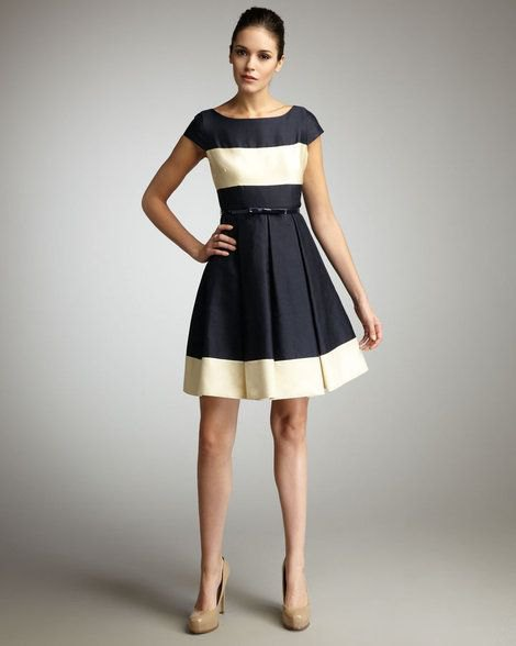 black and light yellow color block dress with belt