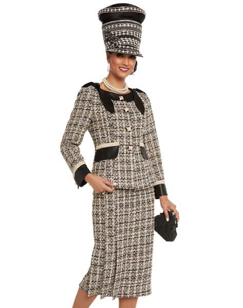 black and light yellow plaid tweed church suit with matching hat