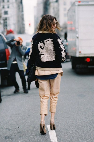 black and pink dragon embroidered bomber jacket