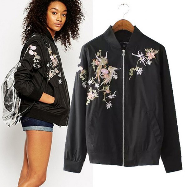 Sports coat with a floral print in black and pink with mini denim shorts