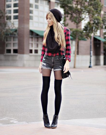 black and red plaid shirt with buttons, mini denim shorts and tights