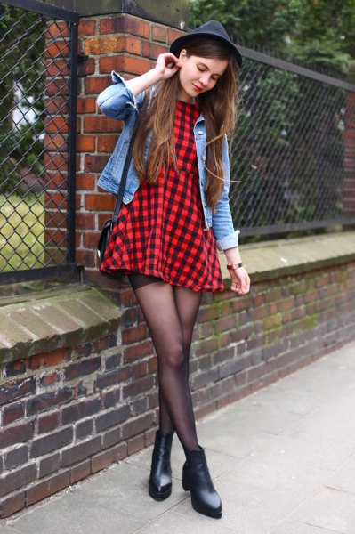 black-red checked skater dress denim jacket felt hat