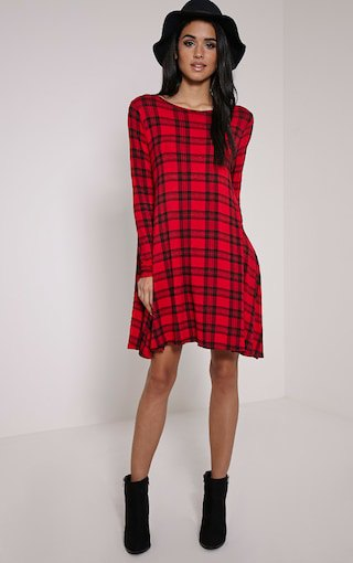 black and red checked swing dress with floppy hat