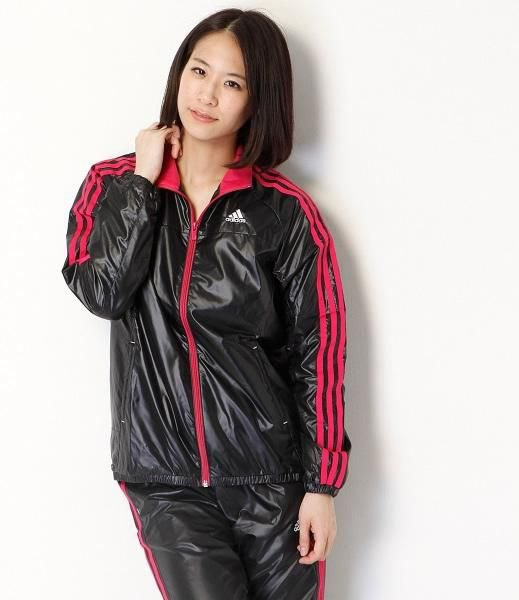 black and red striped nylon sports jacket with matching jogger pants