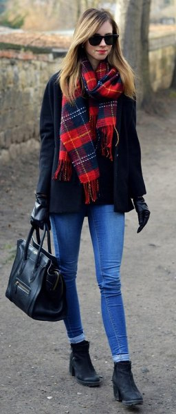 black and red tartan wool coat