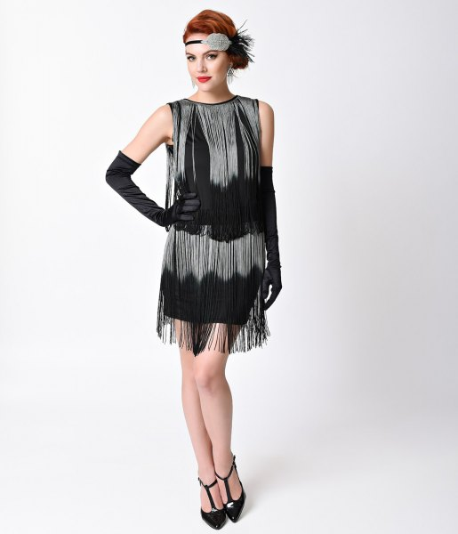 Gatsby style dress with black and silver fringes