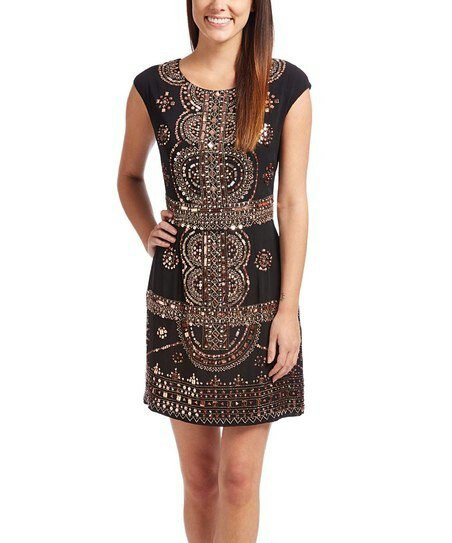 black and silver mini dress with sequin sleeves