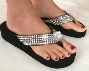 black and silver sequin wedge flip-flops with mini sheath dress