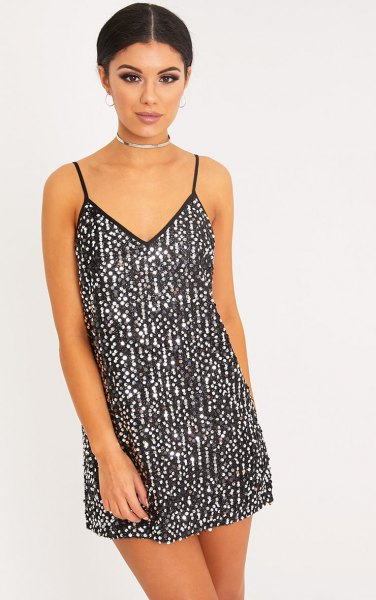 black and silver slip dress with collar