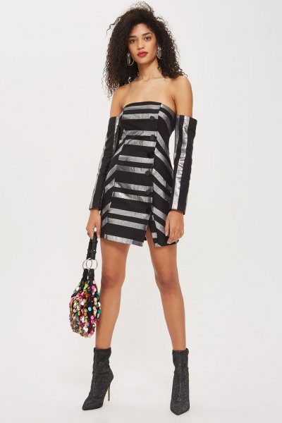black and silver striped Bardot mini dress with ankle boots