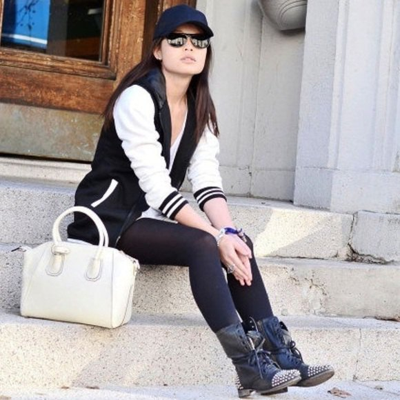 black and white baseball jacket with tunic T-shirt and combat boots with studs